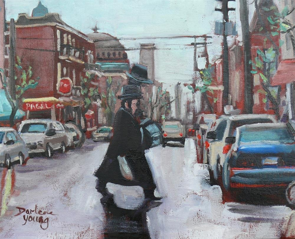 """1109 The Musicians, Mile End Montreal Scene, 8x10, oil on board"" original fine art by Darlene Young"