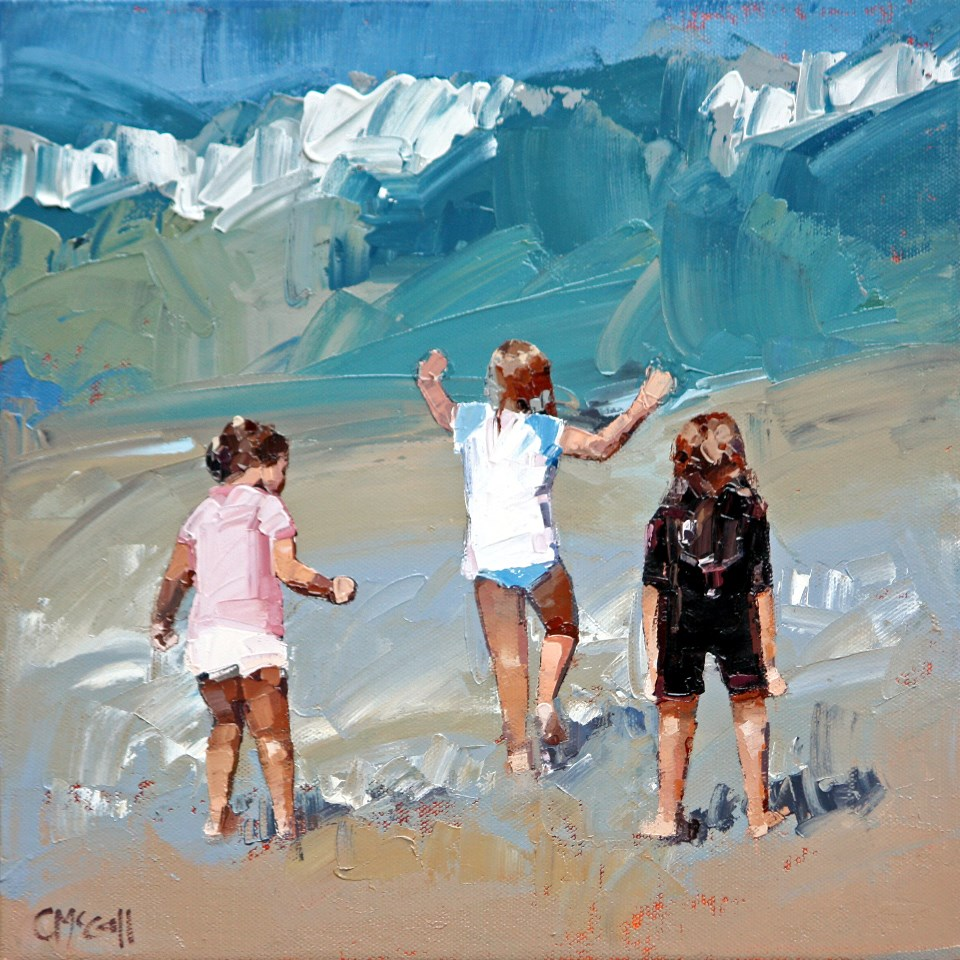 """""""Braving The Waves"""" original fine art by Claire McCall"""