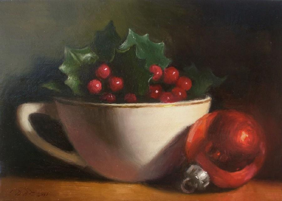 """Tea Cup with Holly"" original fine art by Debra Becks Cooper"
