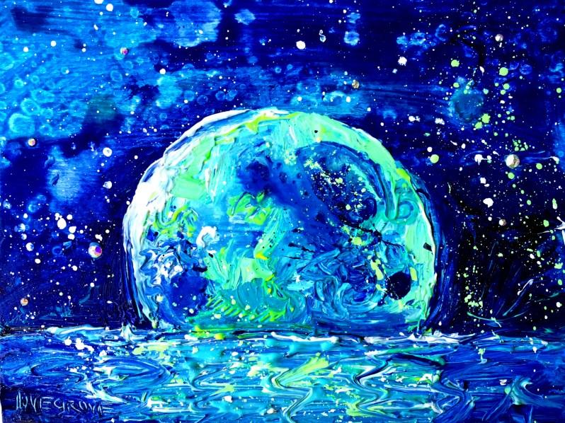 """Blue Moon Over Matlacha Island"" original fine art by Leoma Lovegrove"