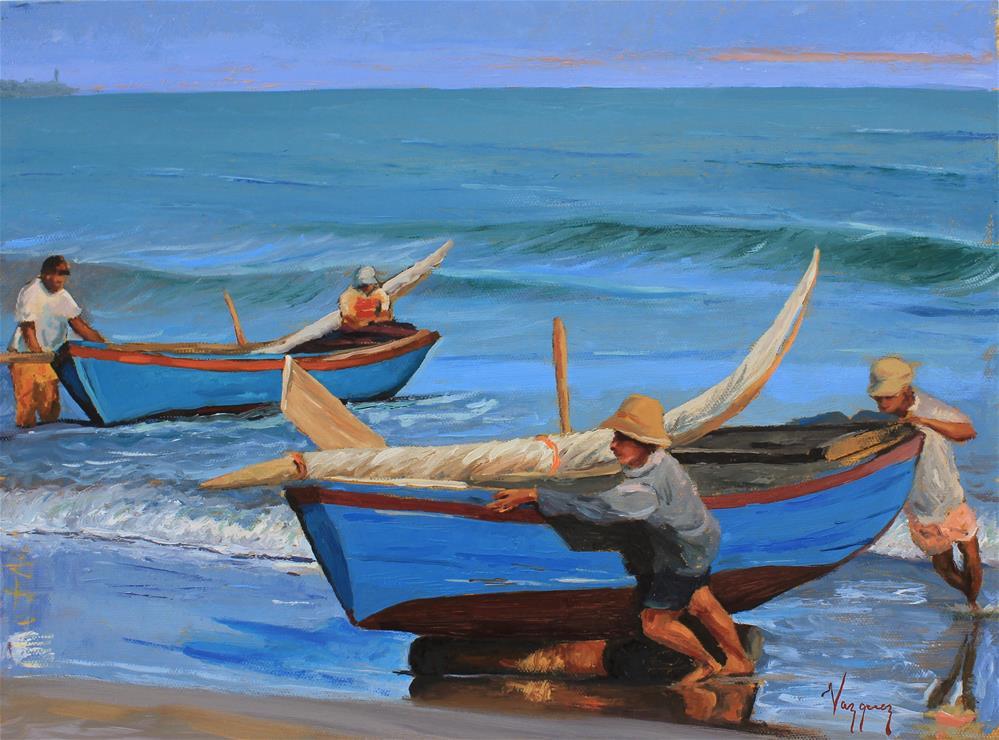 """Fishermen hauling boats "" original fine art by Marco Vazquez"