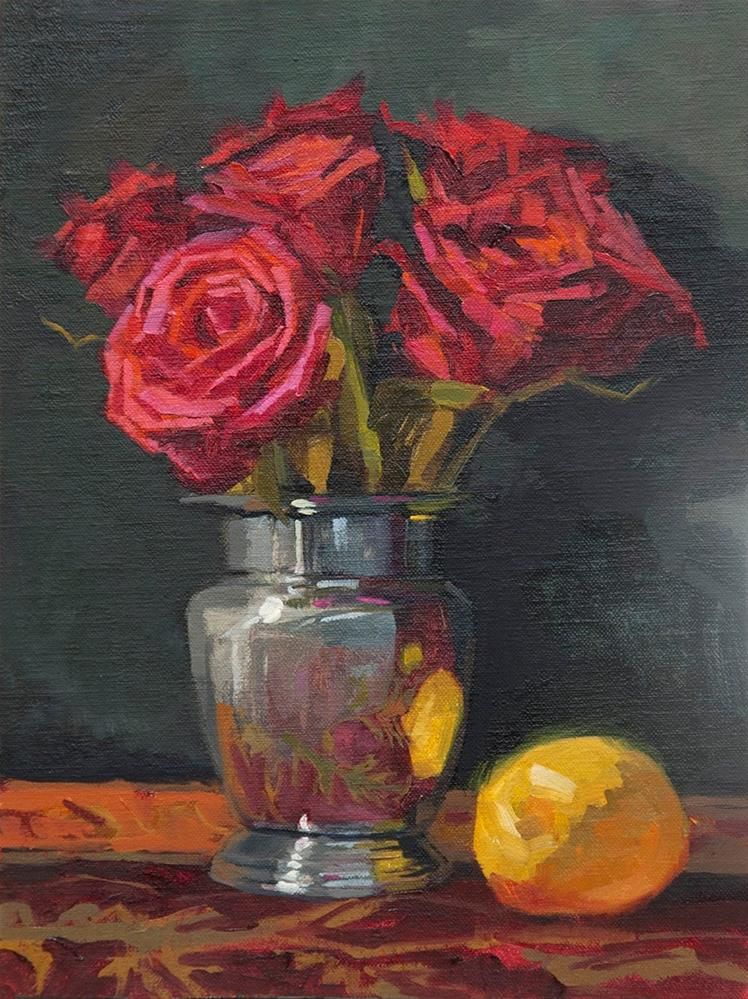"""Roses and Lemon"" original fine art by Miriam Hill"