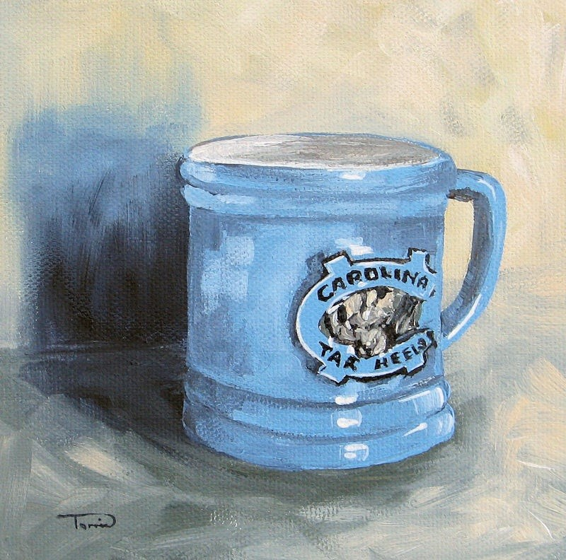 """Carolina Tar Heel Coffee Cup"" original fine art by Torrie Smiley"