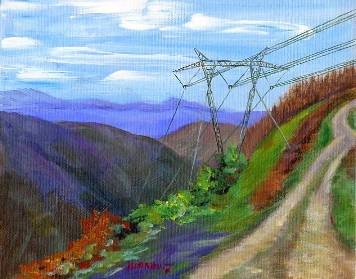 """ORIGINAL PAINTING OF UTILITY LINES CUTTING THROUGH HOGG MOUNTAIN"" original fine art by Sue Furrow"