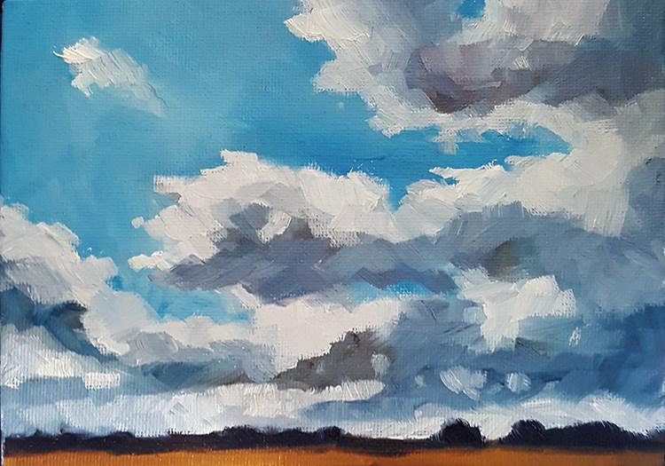 """""""Sky Over The Fens"""" original fine art by J M Needham"""