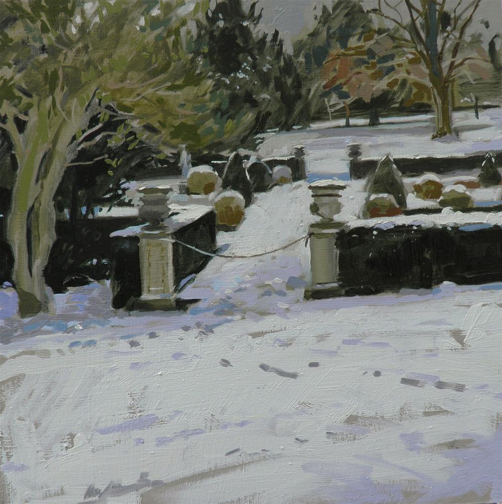 """Belton House gardens in the snow"" original fine art by Haidee-Jo Summers ROI"