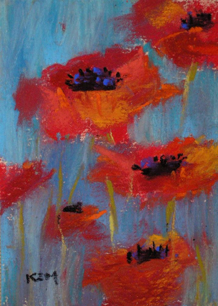 """Poppies on Blue"" original fine art by Karen Margulis"