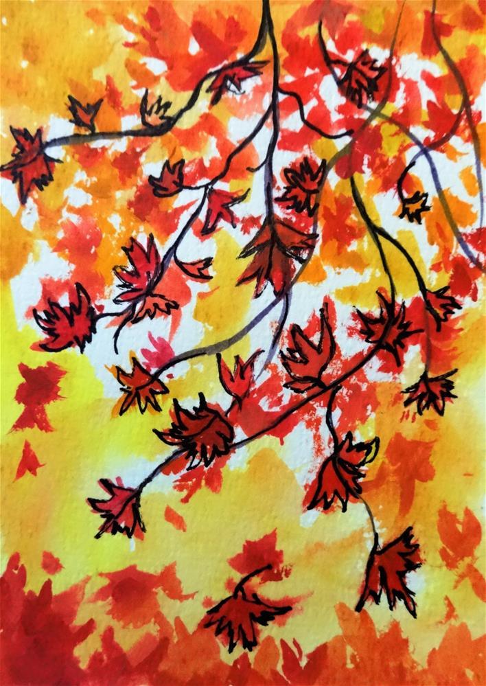 """5118 - Framed Maple Cascade"" original fine art by Sea Dean"