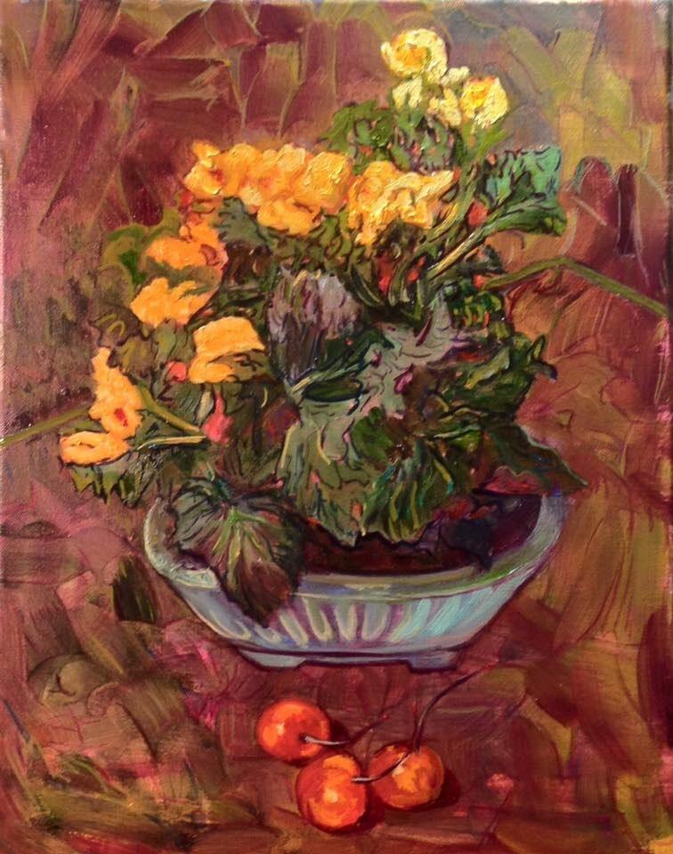 """Yellow Begonias with Cherries"" original fine art by barbara yongue"