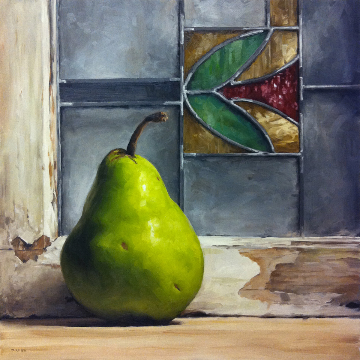 """""""Pear with Stained Glass Window"""" original fine art by Michael Naples"""