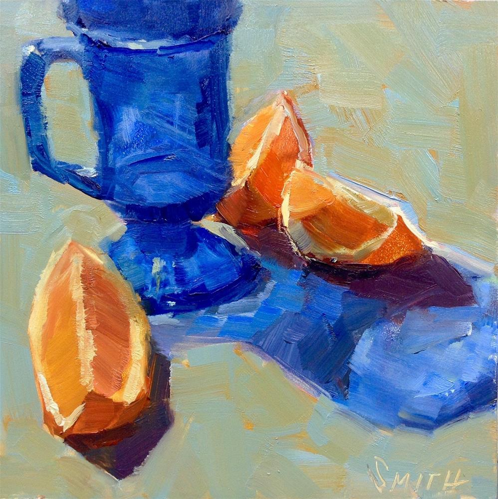 """Blue and Orange Vibrations"" original fine art by Barbie Smith"