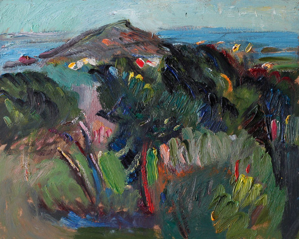 """""""Summer Spanish Landscape with Pine Trees, the Sea and the Island"""" original fine art by Anna Fine Art"""