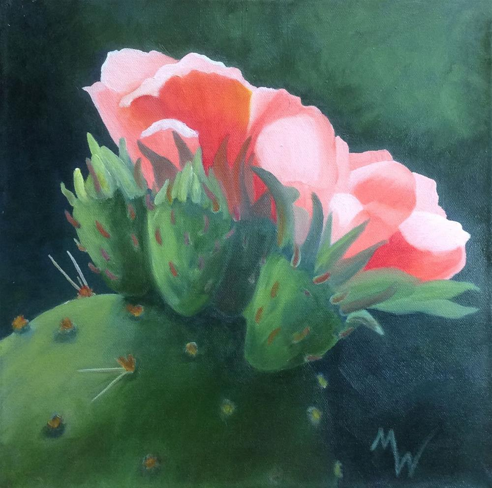 """Pink Cacti Blossom"" original fine art by Michelle Wolfe"
