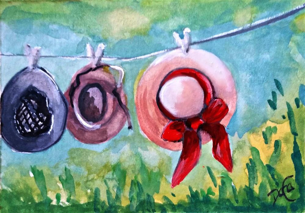 """Drying Hats"" original fine art by Dana C"