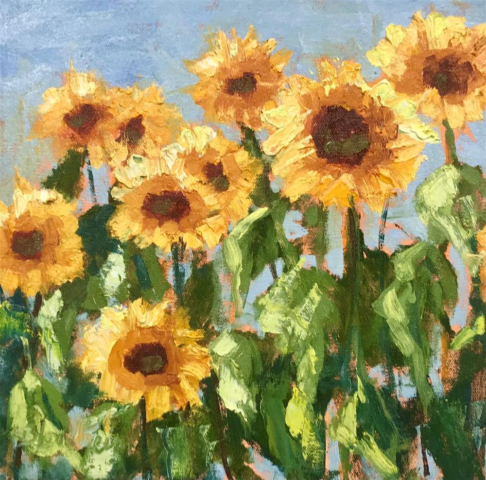 """Sunflowers Study"" original fine art by Linda Blondheim"