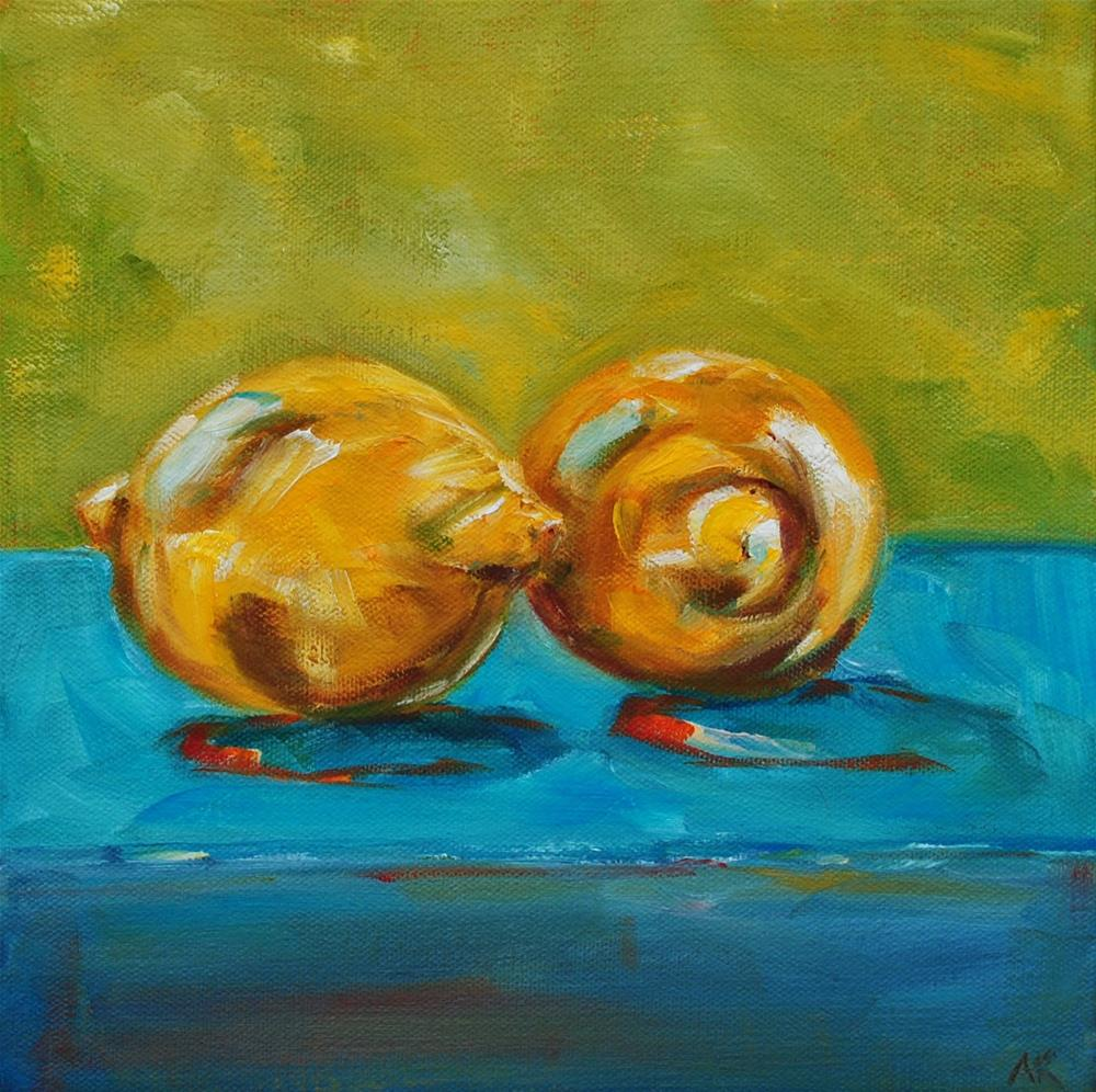 """Two Lemons"" original fine art by Alison Kolkebeck"