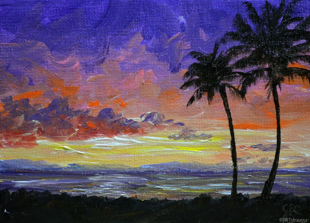 """Wailea Sunset"" original fine art by Gloria Ester"