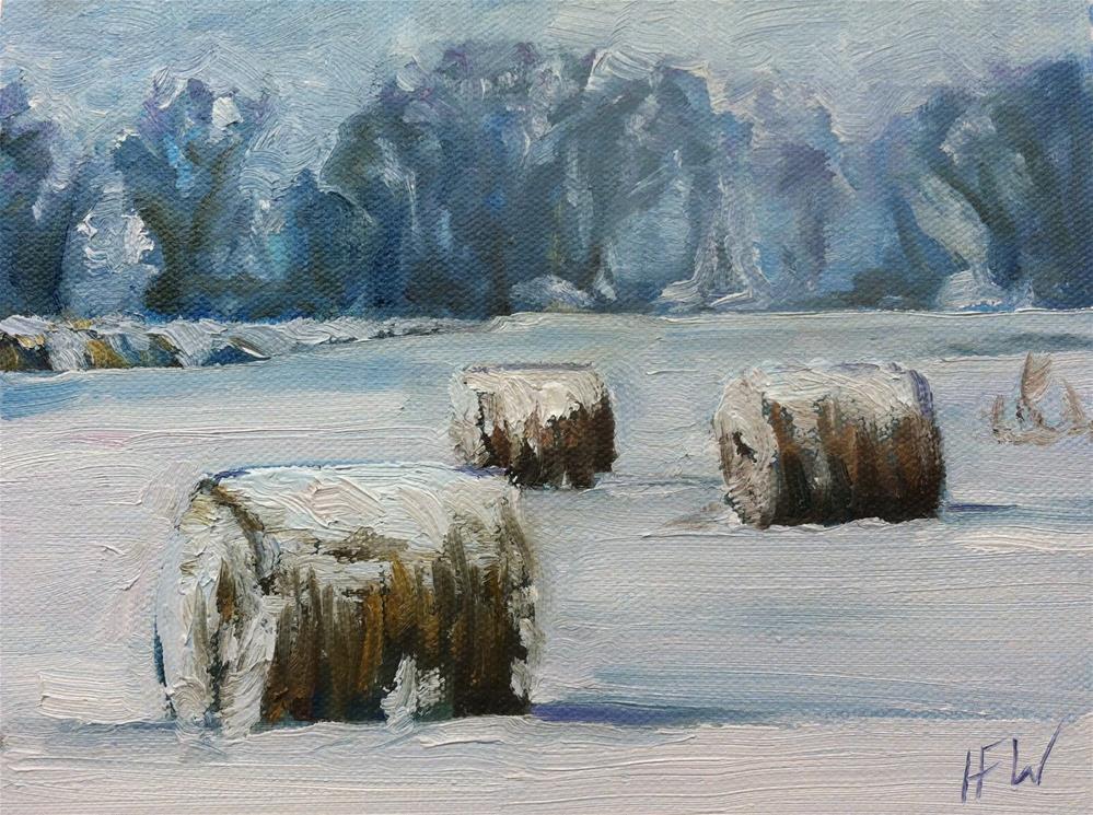 """""""Round Bales in the Snow"""" original fine art by H.F. Wallen"""