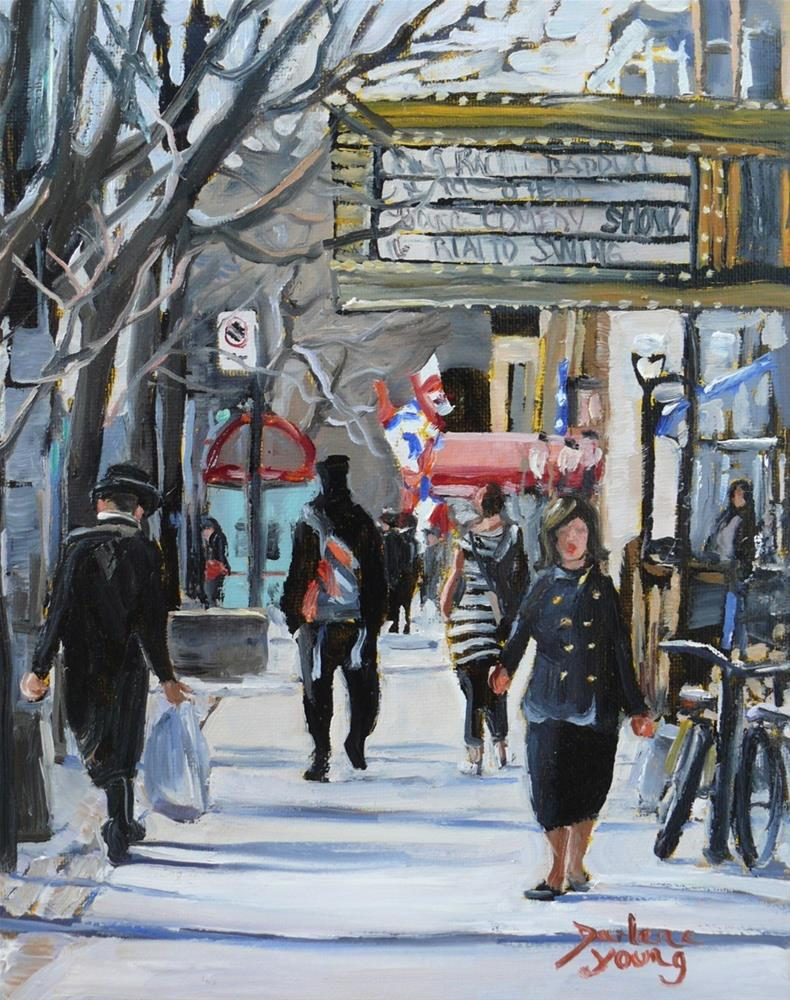 """1045 Montreal Scene, Av Du Parc, Spring, 8x10, oil on board"" original fine art by Darlene Young"