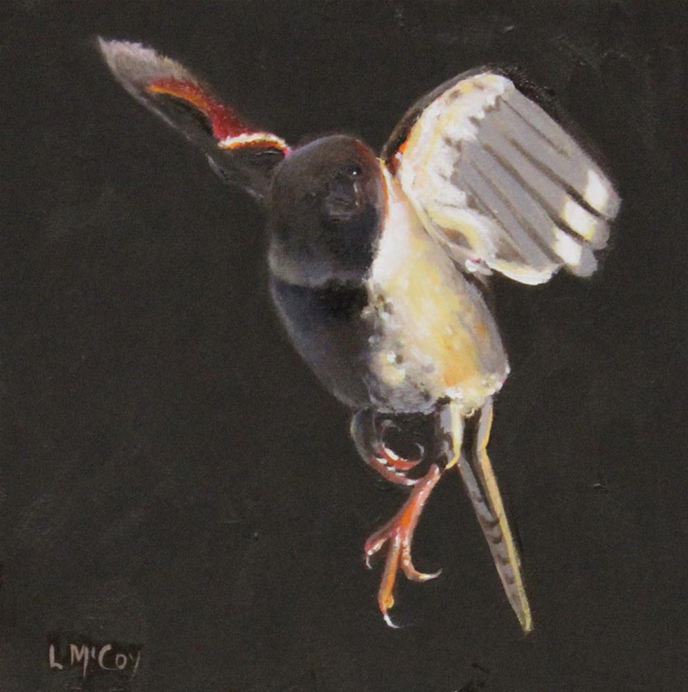 """Nudge, Sparrow Bird Oil Painting"" original fine art by Linda McCoy"