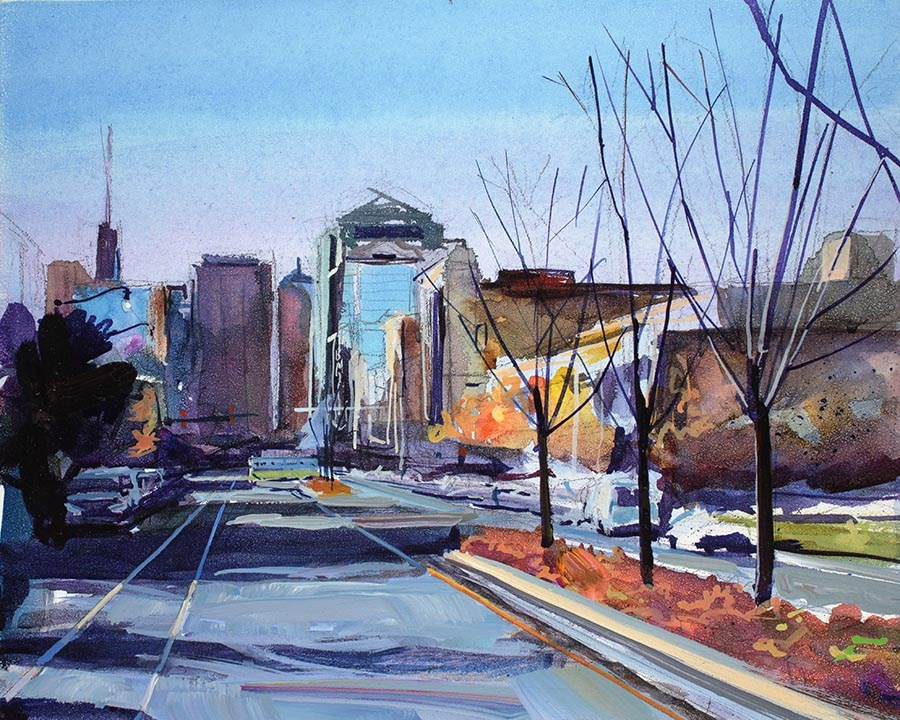 """Buffalo Theatre District in Autumn"" original fine art by Chris Breier"