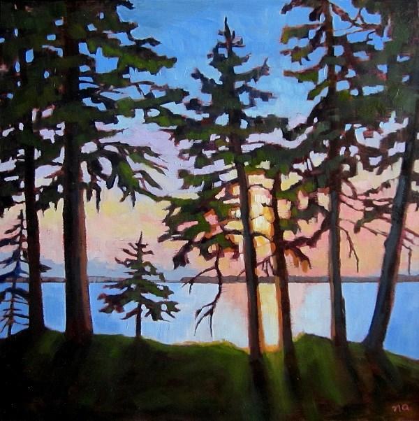 """Grit's Sunset, Waskesiu"" original fine art by Nicki Ault"