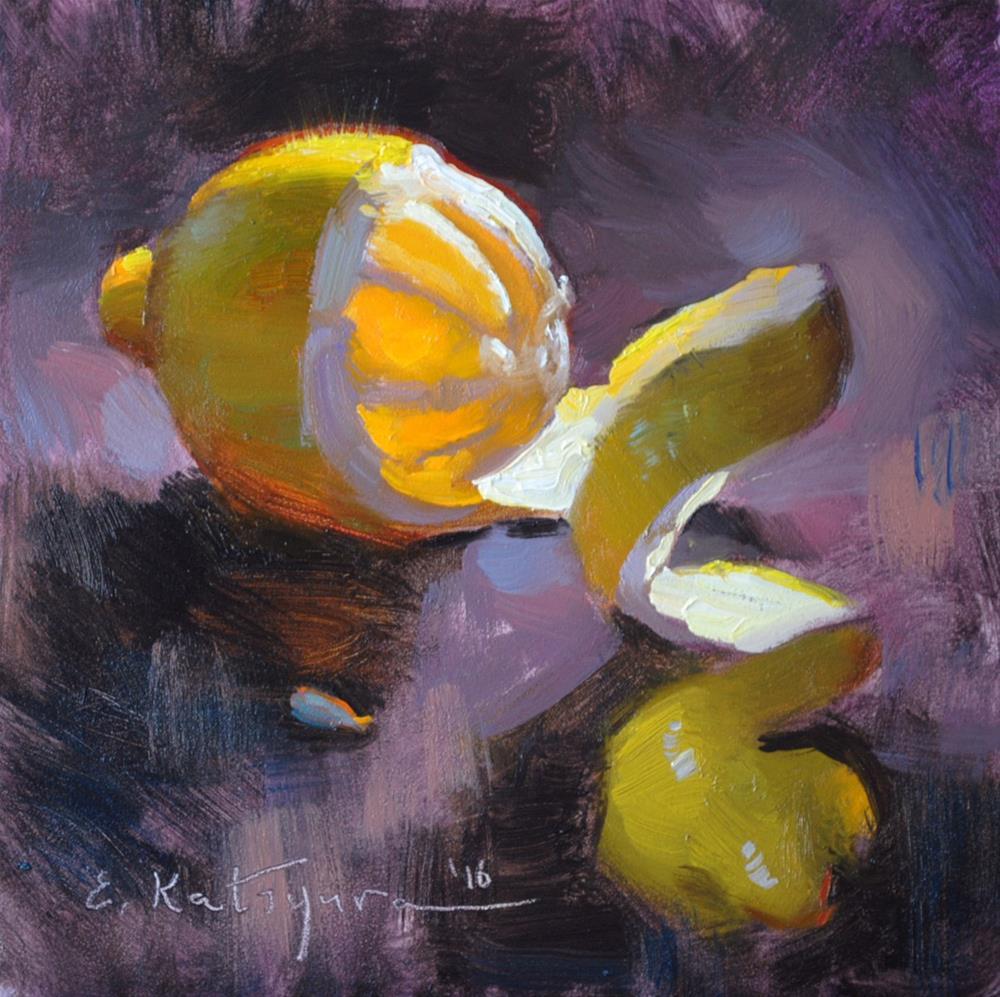 """""""Lemon on Purple"""" original fine art by Elena Katsyura"""