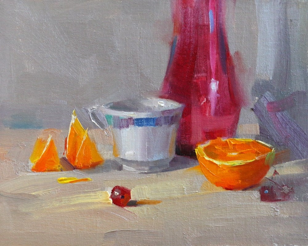"""Three Quarters of a Orange"" original fine art by Qiang Huang"