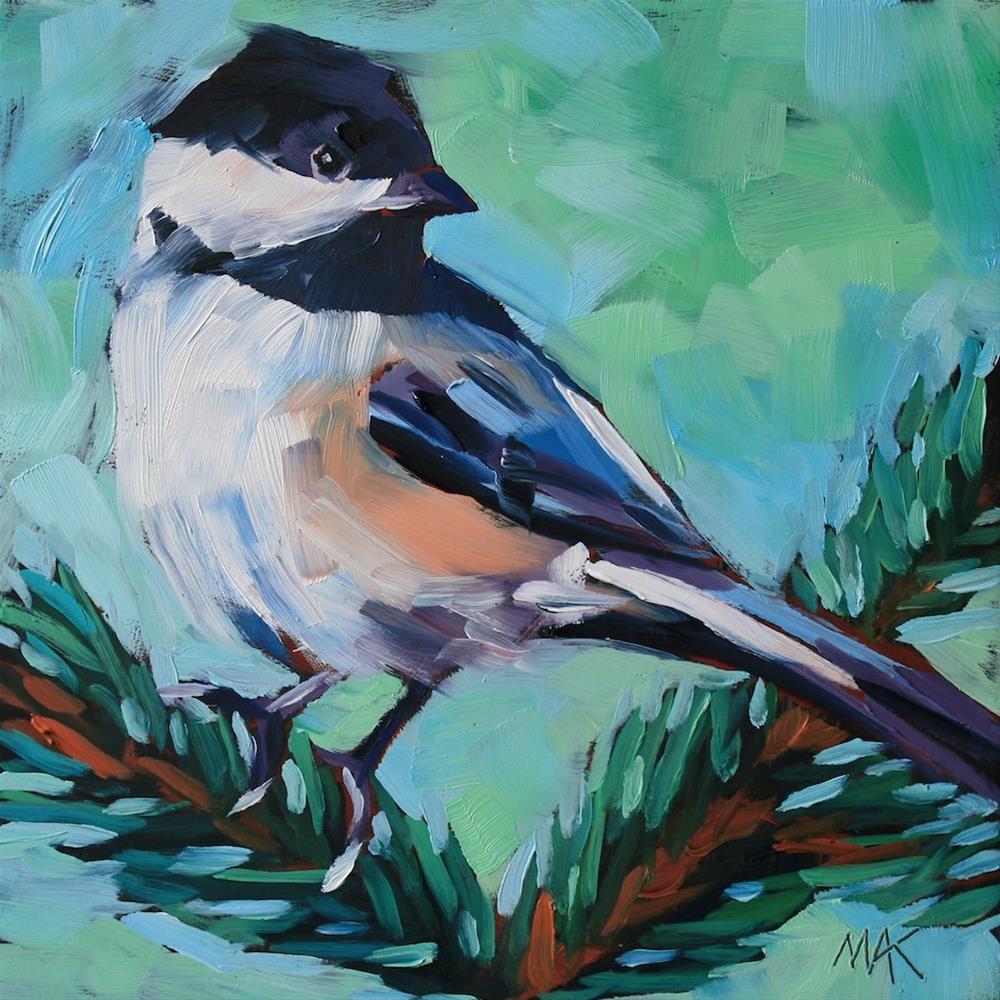 """Chickadee"" original fine art by Mary Anne Cary"