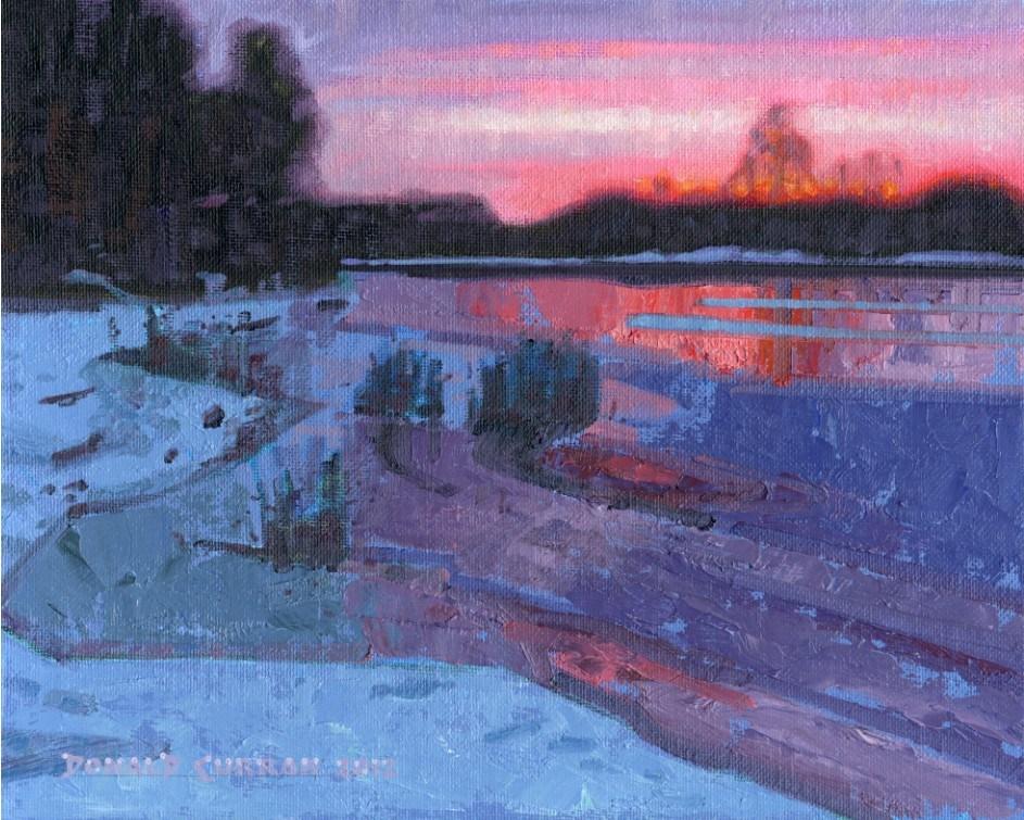 """River Sunset"" original fine art by Donald Curran"