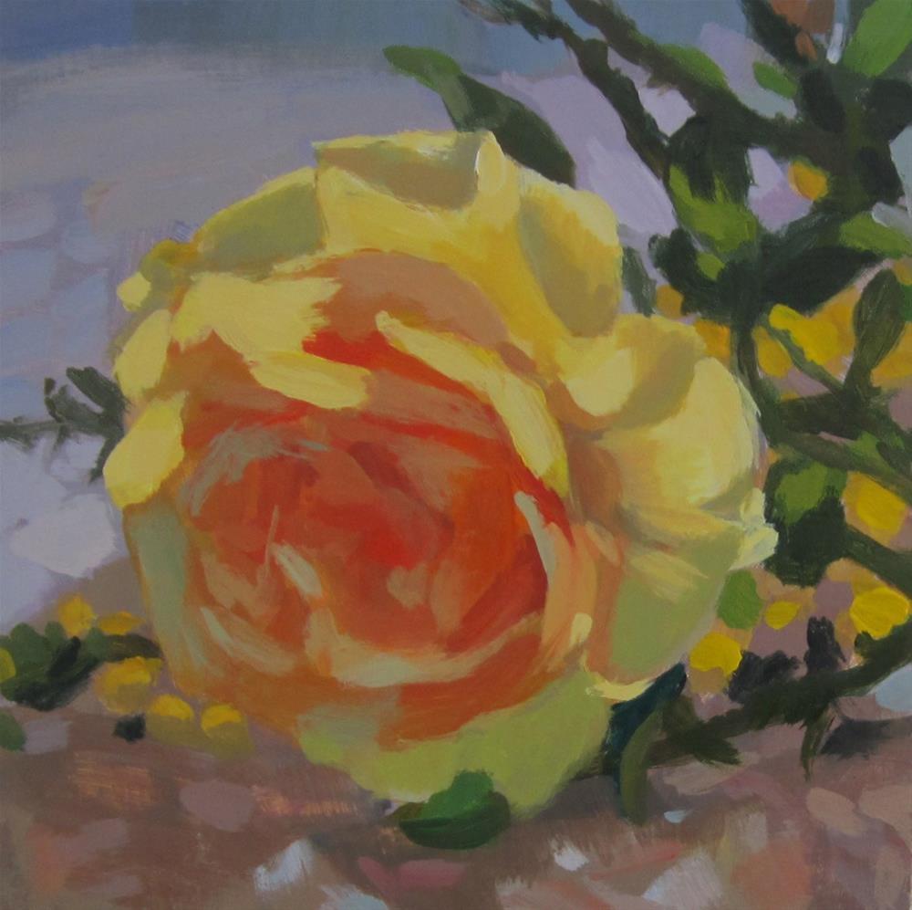 """Yellow Rose"" original fine art by Kaethe Bealer"