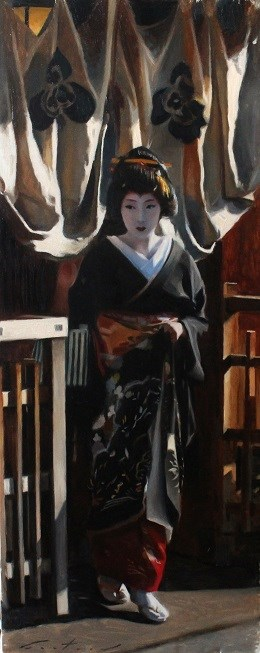 """Outside a Teahouse"" original fine art by Phil Couture"