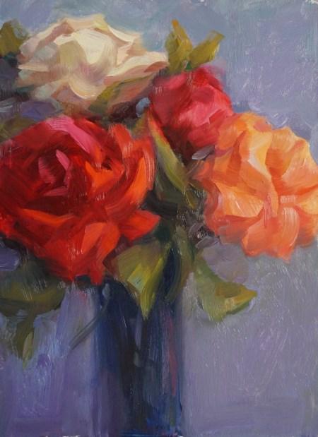 """Four Roses"" original fine art by Carol Myer"