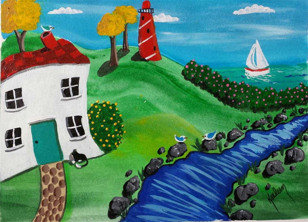 """Lighthouse Stream"" original fine art by Karleen Kareem"