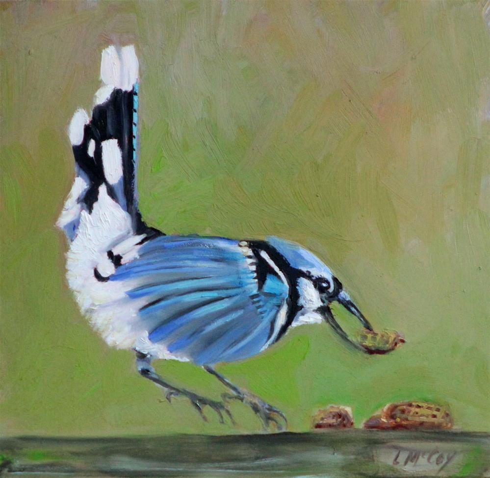 """Peanuts! Blue Jay"" original fine art by Linda McCoy"