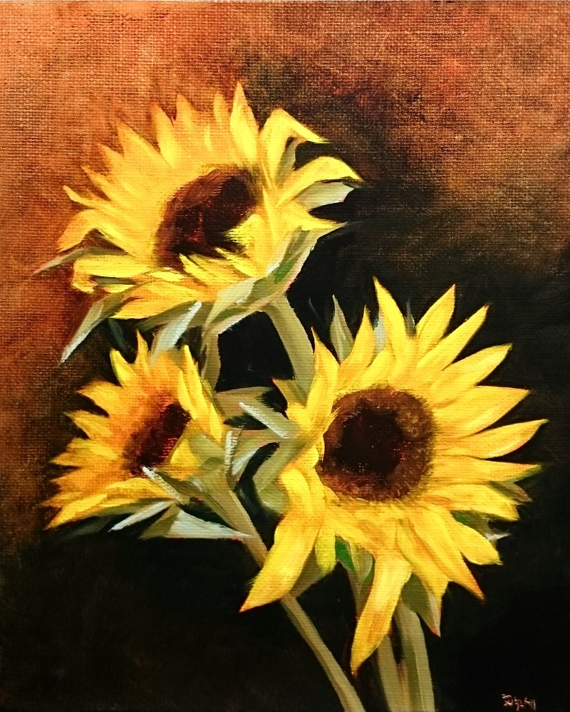 """Sunflowers"" original fine art by Dalan Wells"