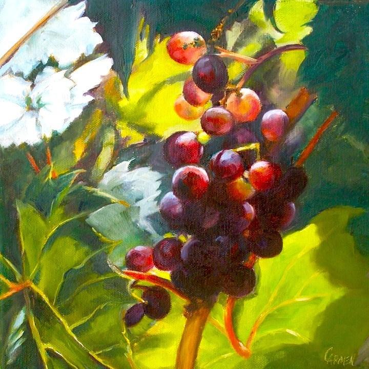 """Sunny Grapes, 10x10 Oil on Canvas"" original fine art by Carmen Beecher"