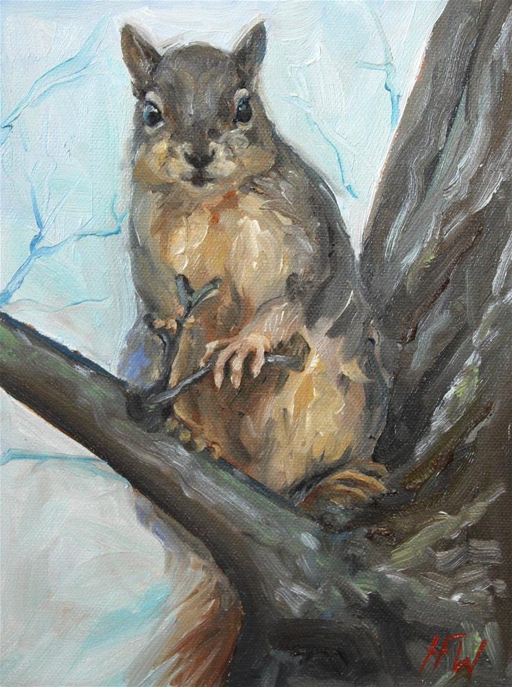 """""""Cheeky Squirrel"""" original fine art by H.F. Wallen"""