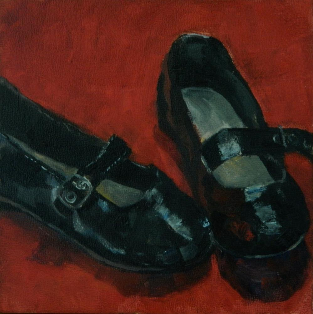 """""""Stepping Out in Mary Janes"""" original fine art by Debra Shore"""