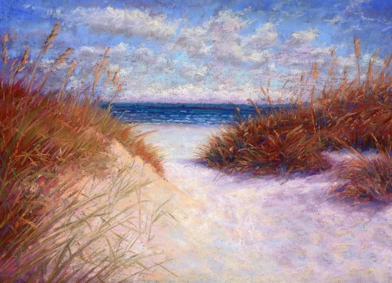 """Dunes and White Sandy Beach Coastal Pastel Painting by Poucher"" original fine art by Nancy Poucher"
