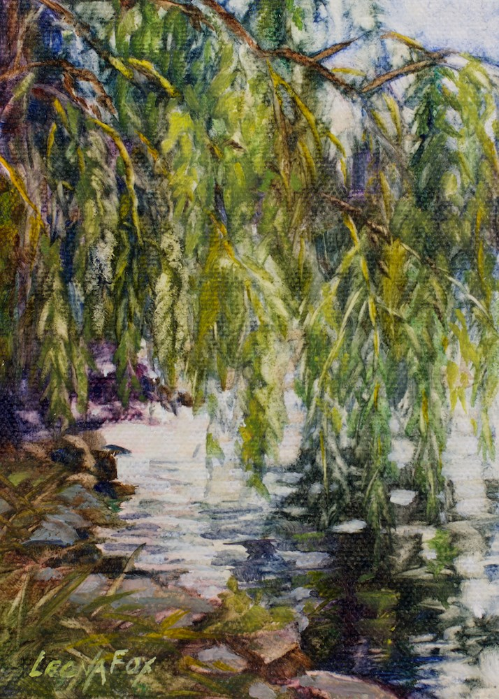 """Weeping Willow"" original fine art by Leona Fox"