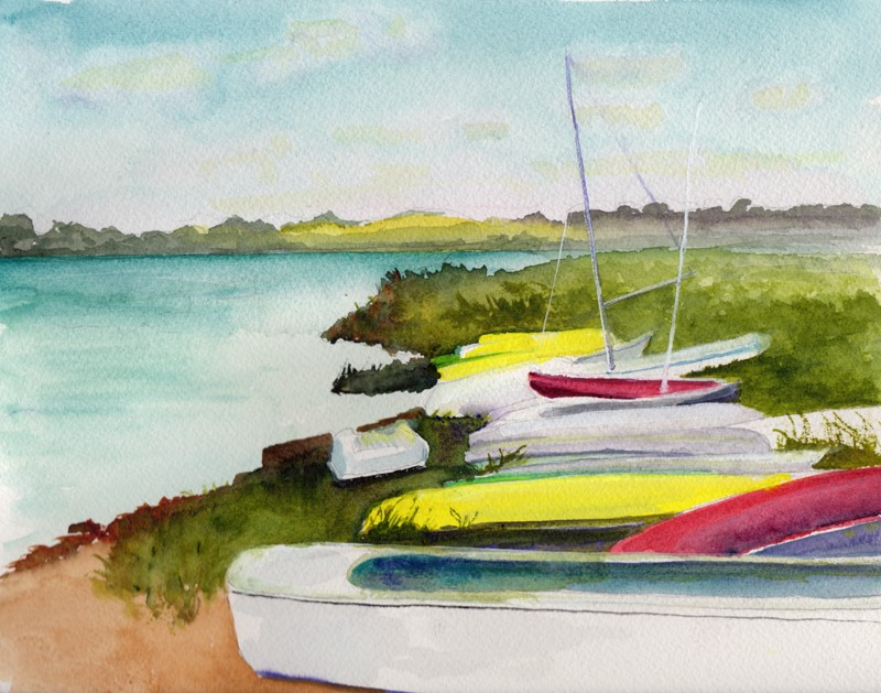 """""""Boats on Shore"""" original fine art by Bunny Griffeth"""