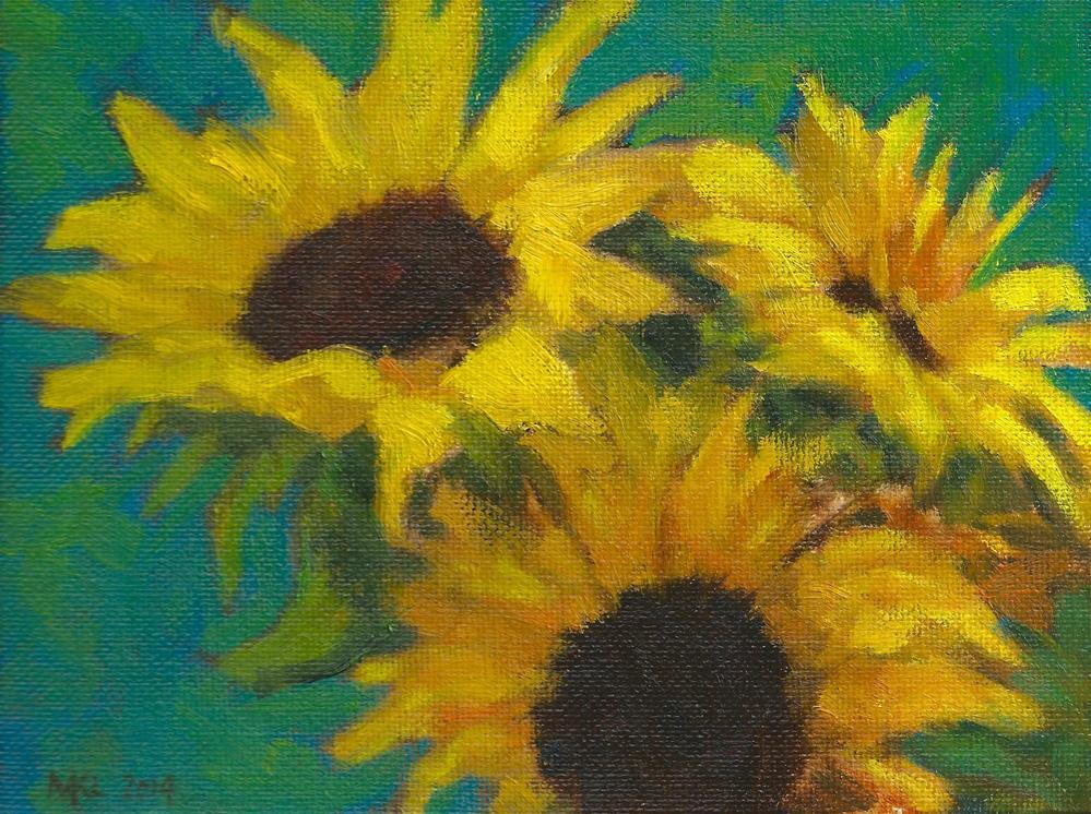 """Three Sunflowers"" original fine art by Marlene Lee"