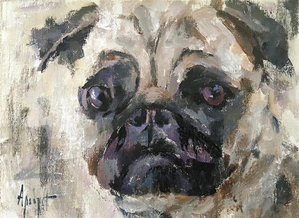 """Pug"" original fine art by Anne Marie Propst"