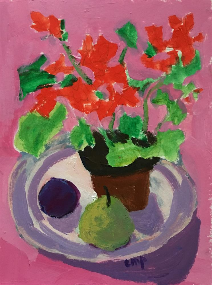 """Still Life with Geranium&Fruit2"" original fine art by Christine Parker"