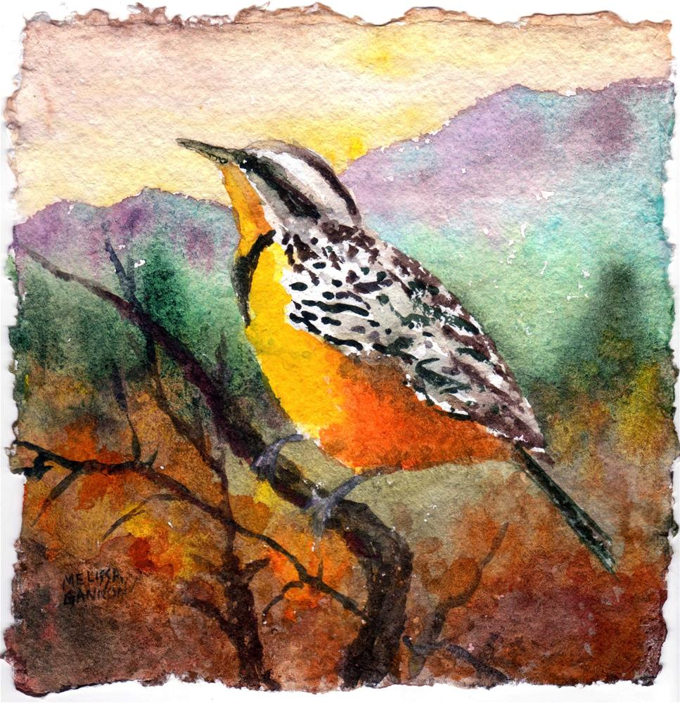"""Meadowlark Perch"" original fine art by Melissa Gannon"