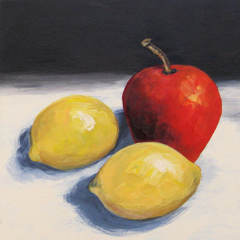 """""""Red Apple and Two Lemons"""" original fine art by Torrie Smiley"""