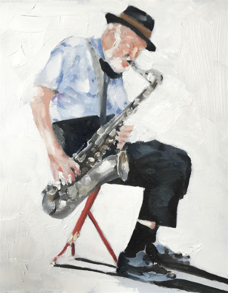 """Sax Man"" original fine art by James Coates"