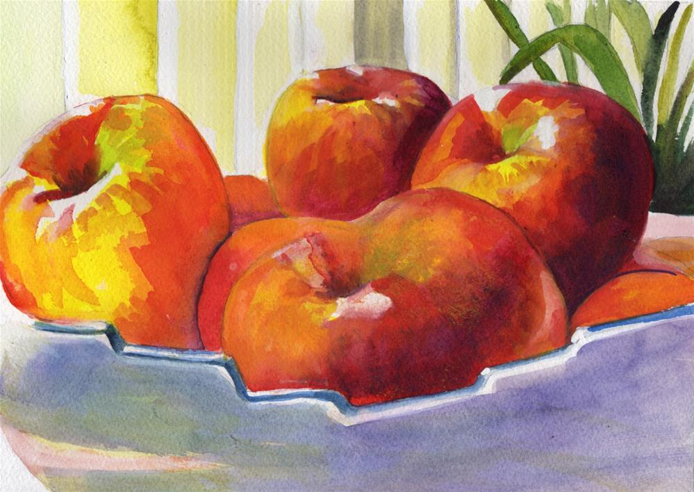 """""""Bowl of Apples in the Sun"""" original fine art by Bunny Griffeth"""