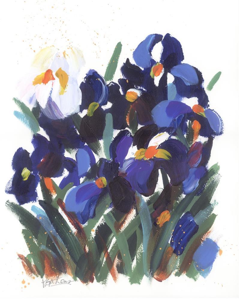 """""""Blue Iris Garden"""" original fine art by Pamela Gatens"""